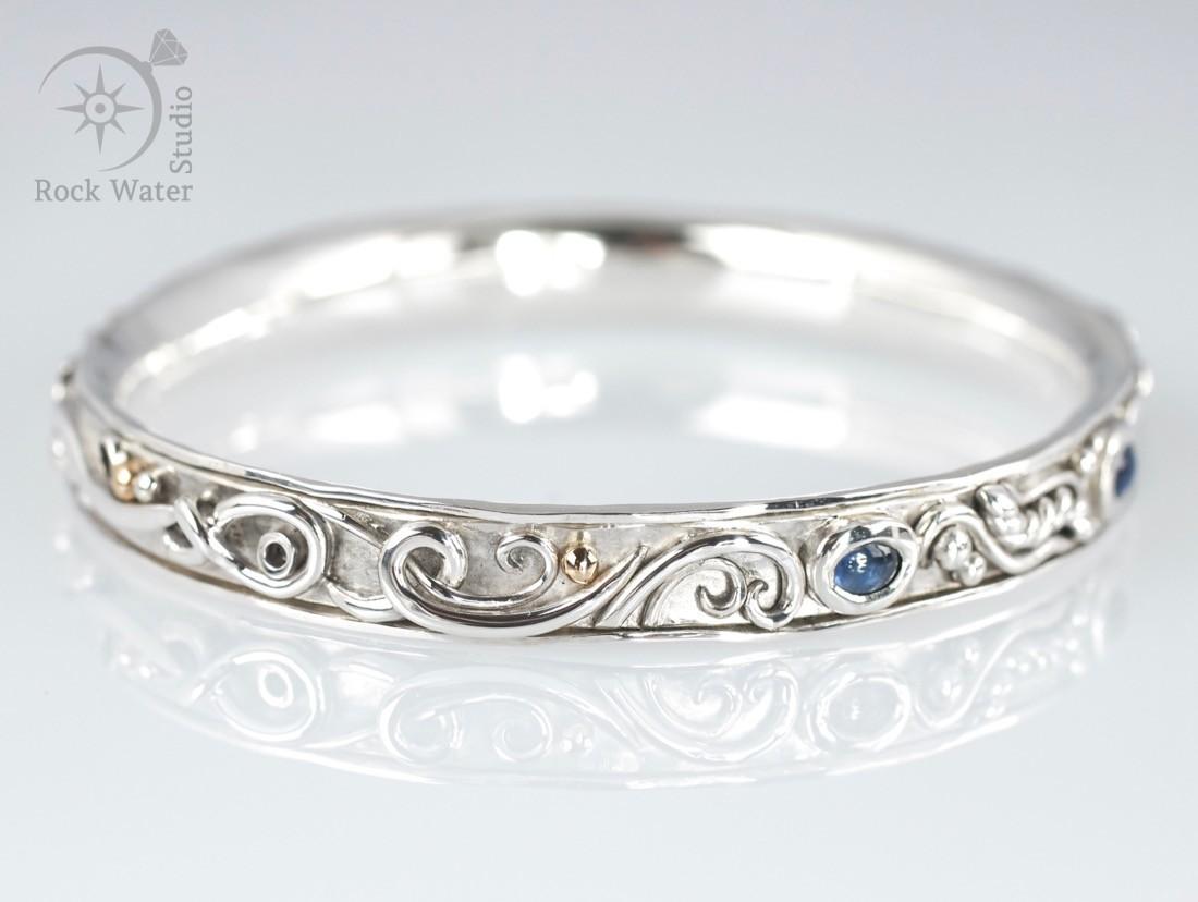 Handmade sapphire bangle 50th Birthday Gift