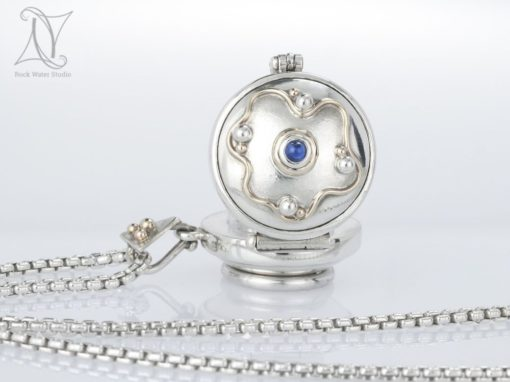Gold Waves Sapphire Compass Locket