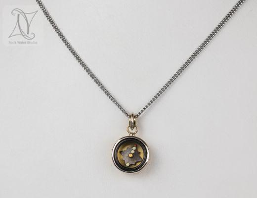 gold compass pendant wedding anniversary gift (g323)