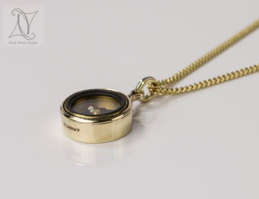 Working Gold Compass Necklace (g326)