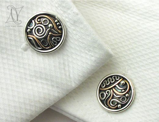 Family Cufflinks in Silver and Gold