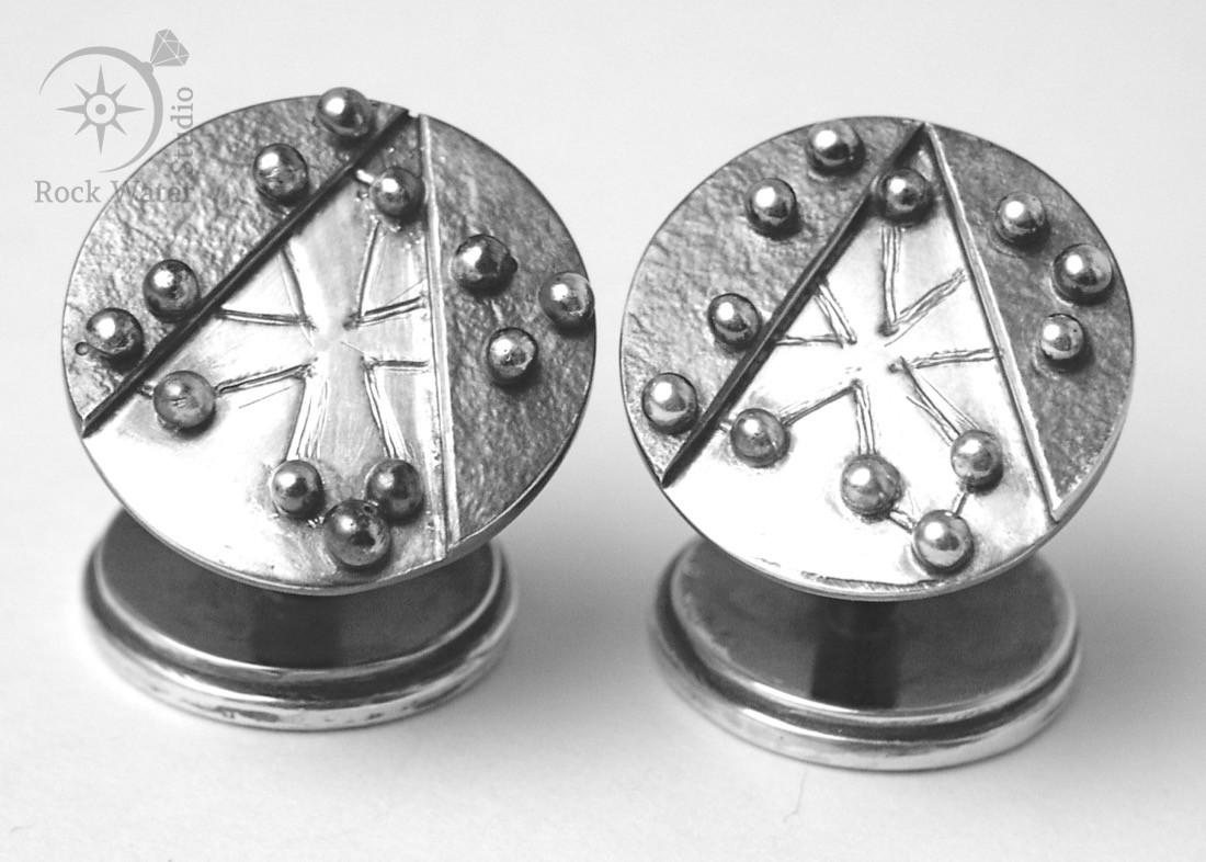 Handmade silver toulouse cross cufflinks (g153)