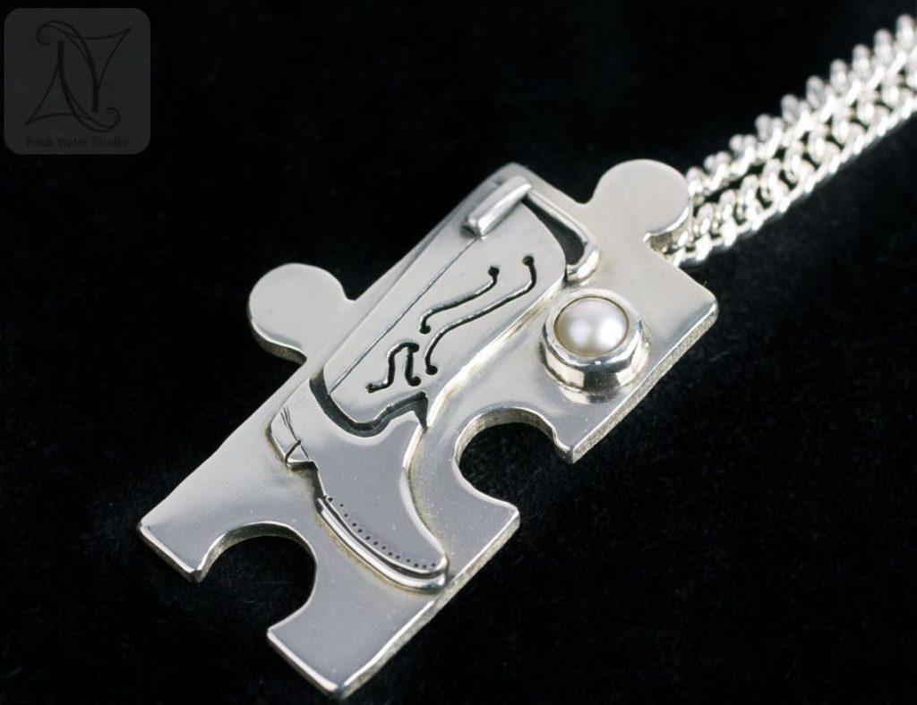 Silver Cowboy Boot Necklace