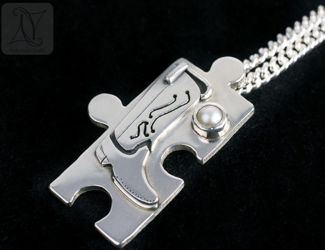 Silver Jigsaw Necklace