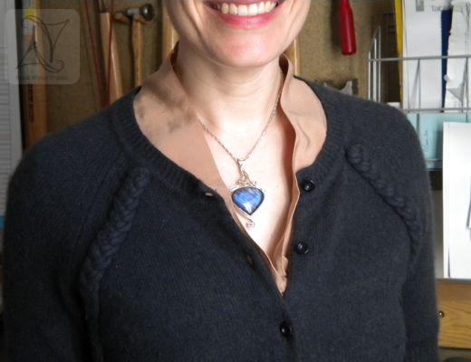 Labradorite Necklace on model (g442)