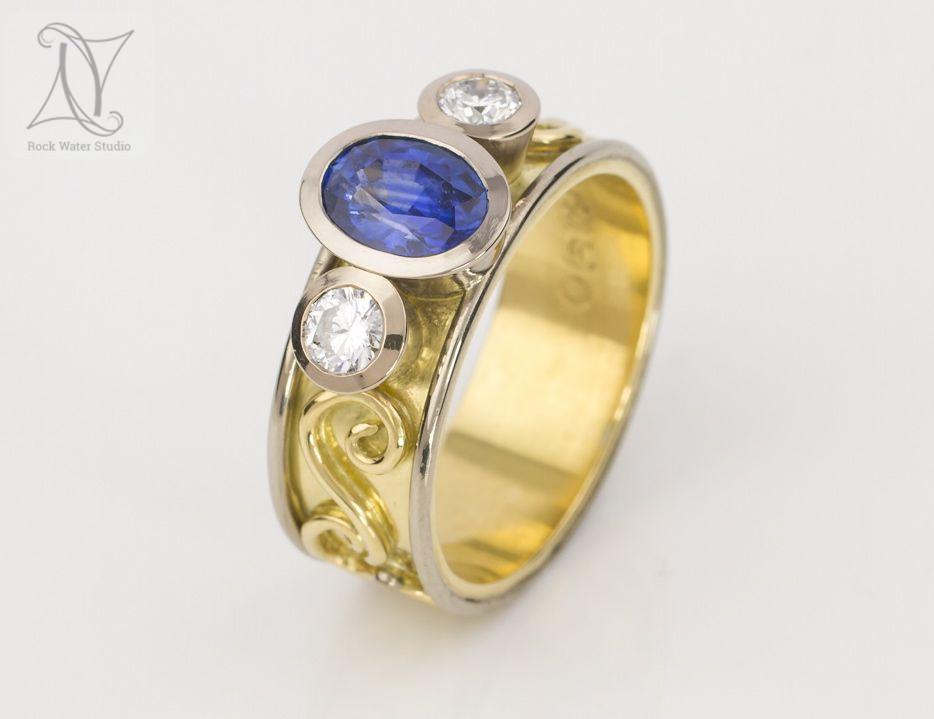 Stunning Sapphire & Diamond Engagement Ring (g461)