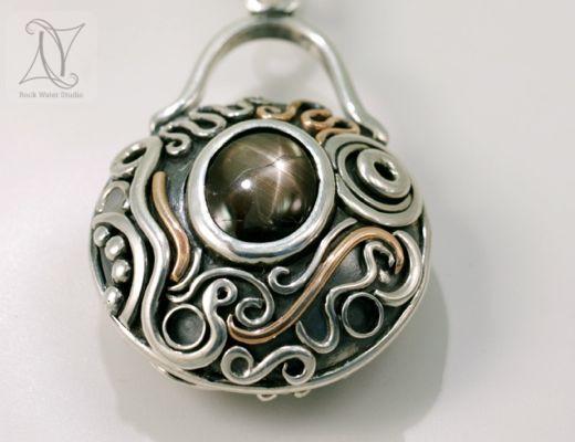 6 ray Black Star Sapphire Handmade Compass Pendant (g272)