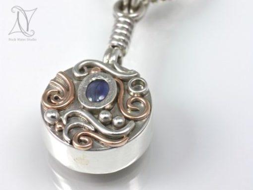 Sapphire Silver Compass Pendant