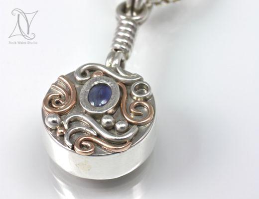 Sapphire Silver Compass Pendant (g275)