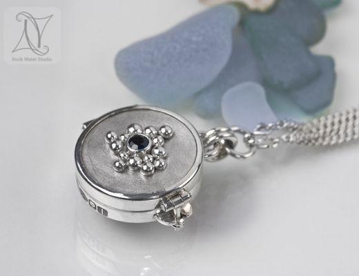 Sapphire Silver Compass Locket (g314)