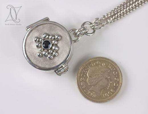Sapphire Silver Button Compass Locket (g314)