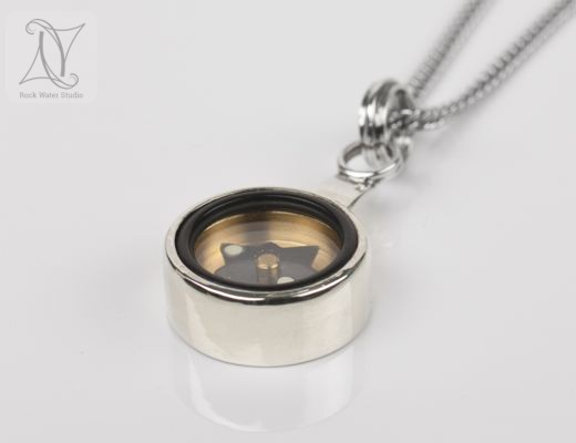 white gold compass pendant gift to find your way (g327)