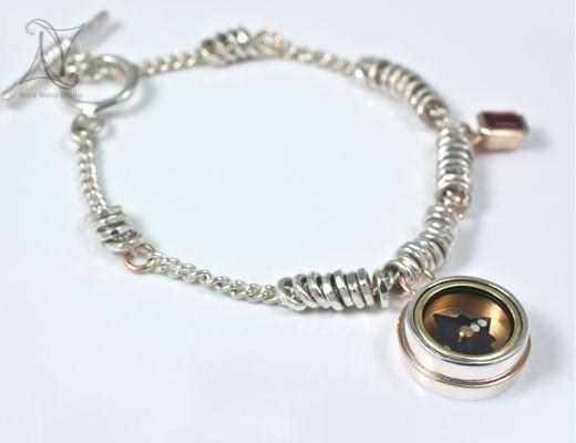 Silver Compass Bracelet Charm