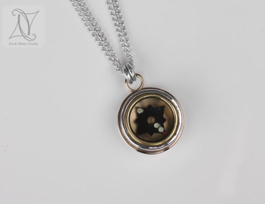 Silver and Gold Graduation Compass Pendant (g338a)