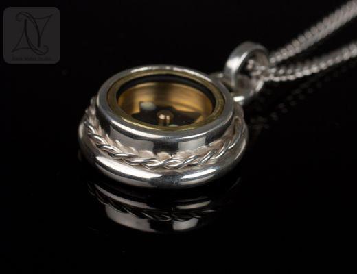 Handmade Rope Twist Silver Compass Pendant Gift (g371)
