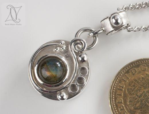 Labradorite Swirl Silver Compass Pendant