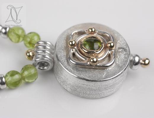 Peridot Silver Compass Necklace