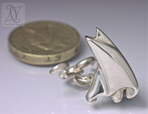 Handmade silver sail cufflinks