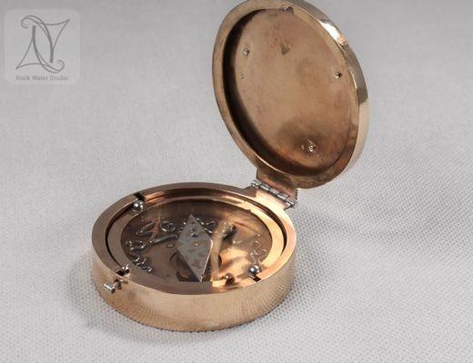 Brass Compass Locket with Silver Symbols and Swirls (g380)