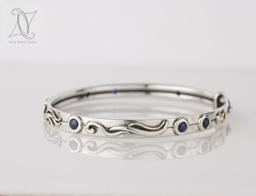 Custom Botanical Bangle with Sapphires (g463)