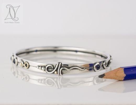 Unique handmade sapphire bangle (g463)