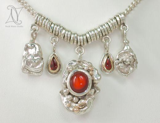 Handmade Fire Opal Necklace (g321)