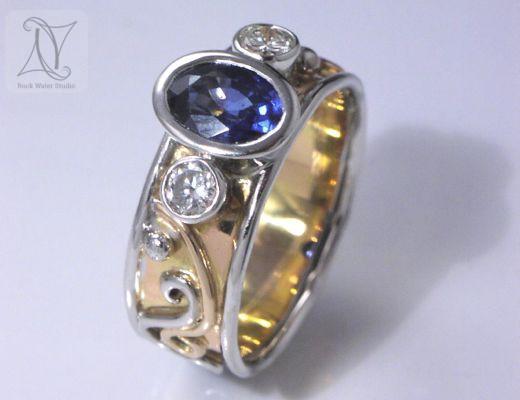 Handmade Sapphire Diamond Engagement Ring (g210)
