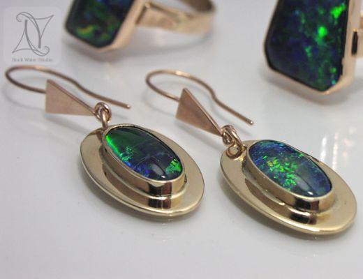 Handmade Rose Gold Earrings with Opal (g223)