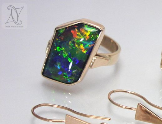 Fiery Opal Ring in Rose Gold (g223)