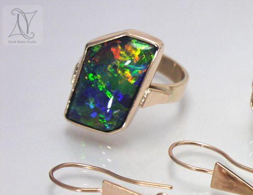 Fiery Opal Ring in Rose Gold (g223)