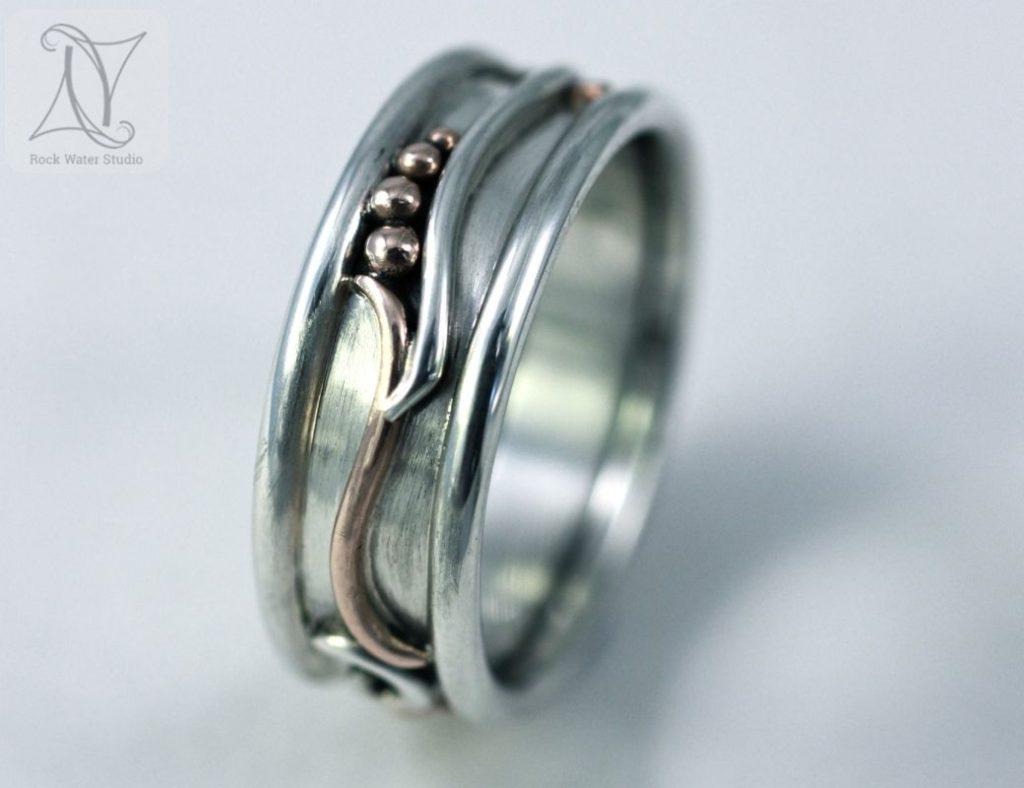Botanical Wedding Ring with Tendrils (g284)