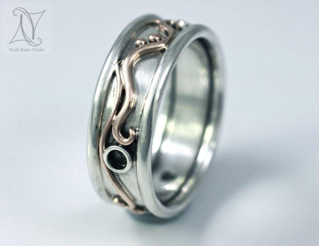 Botanical Wedding Ring inspired by Nature (g284)