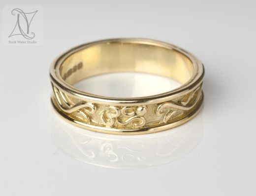 Handmade Gold Wedding Ring with OM Symbol