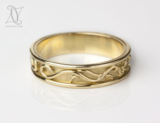 Handmade Gold OM Wedding Ring with Dragons