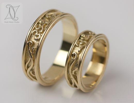 18K Gold OM Wedding Rings