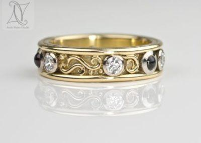 Handmade Diamond Eternity Ring with Garnets (g398)