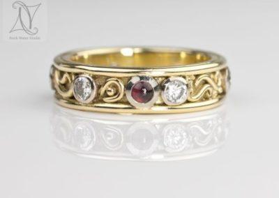 Handmade Diamond and Garnet Eternity Ring (g398)