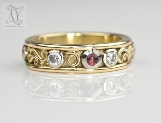 Unique 18k Gold Diamond Eternity Ring with Garnets (g398)