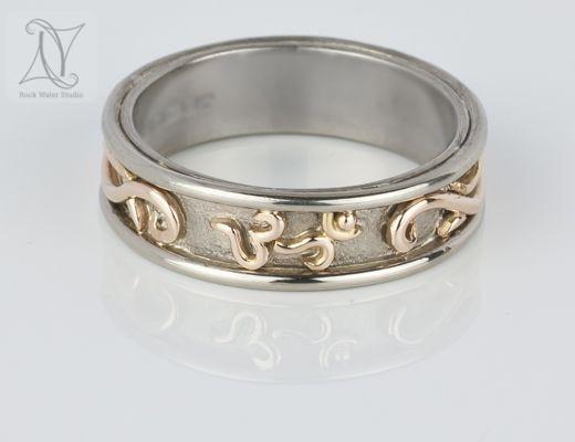 Handmade White Gold Celtic Style OM Wedding Ring (g400)
