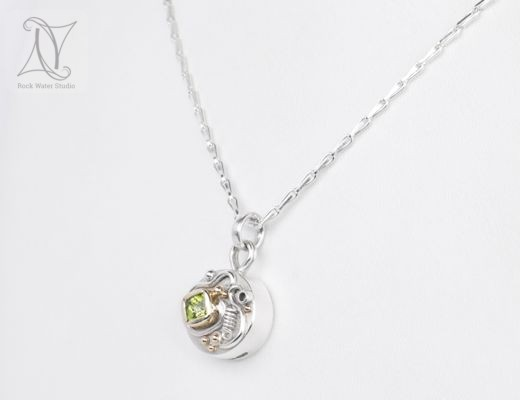 peridot talisman compass necklace (g412)