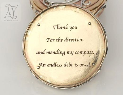 Handmade Compass Locket Box with Engraved Message (g444)