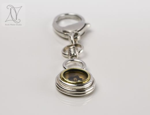 Solid Sterling Silver Compass Keyring (g365)