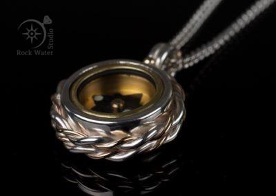 Handmade silver working compass gift (g369)