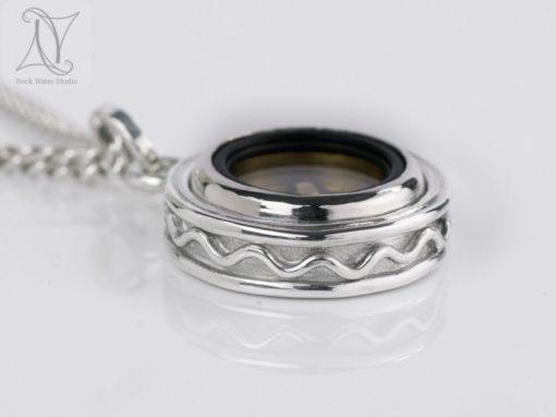 Silver Wave Compass Pendant
