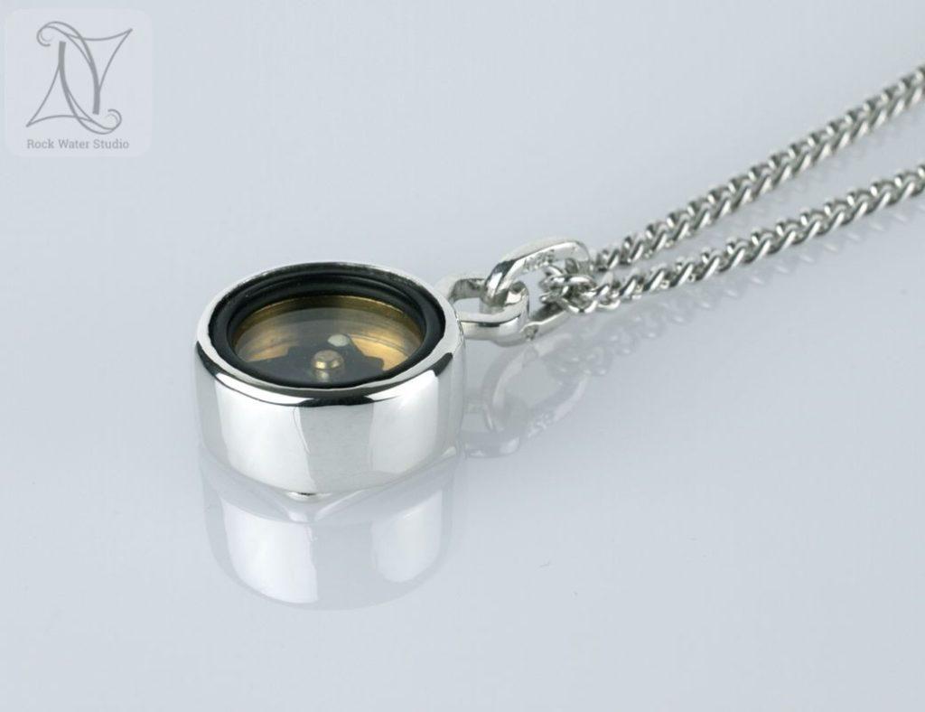 4 corners silver compass pendant 21st birthday gift (g472)
