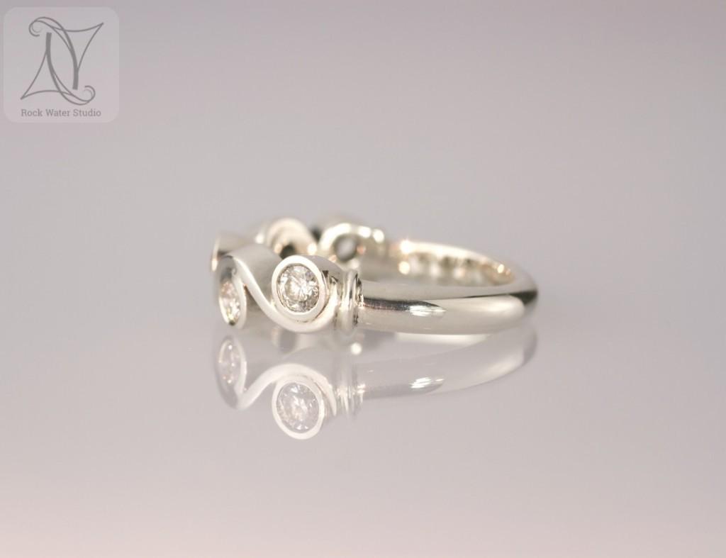 5 Diamonds Silver Wedding Anniversary Ring