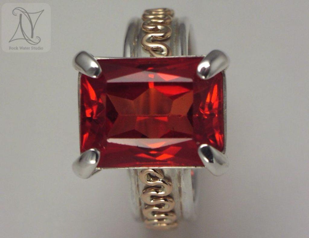 Handmade Garnet Squiggle Ring (g176)