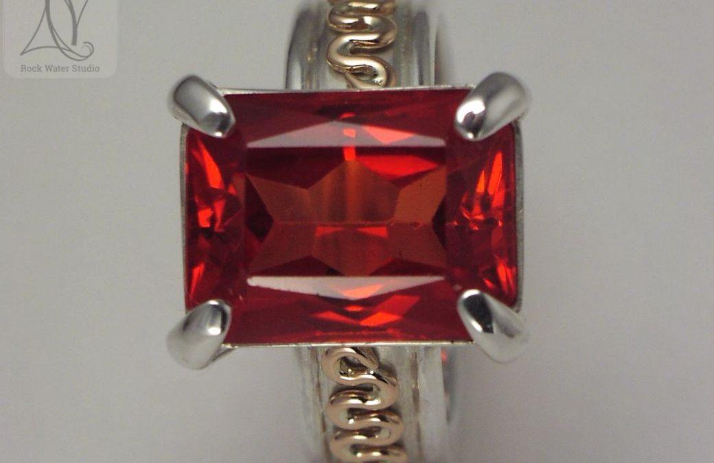 Garnet Squiggle Ring