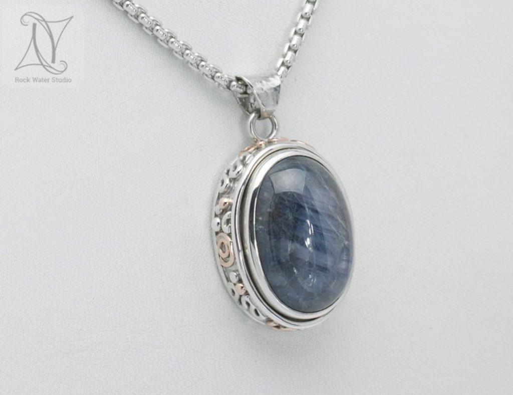 handmade sapphire necklace gift (g134)