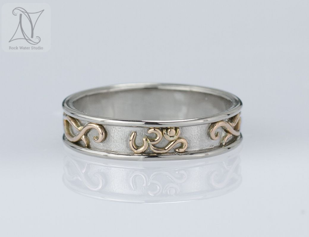 image of White Gold OM Wedding Ring Made to Order